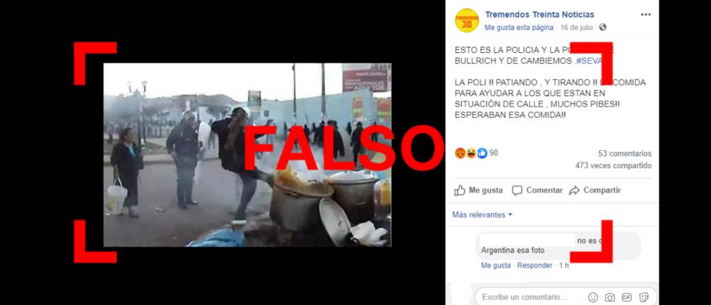 Reverso: Es falsa la foto de un supuesto policía pateando una olla en la Argentina