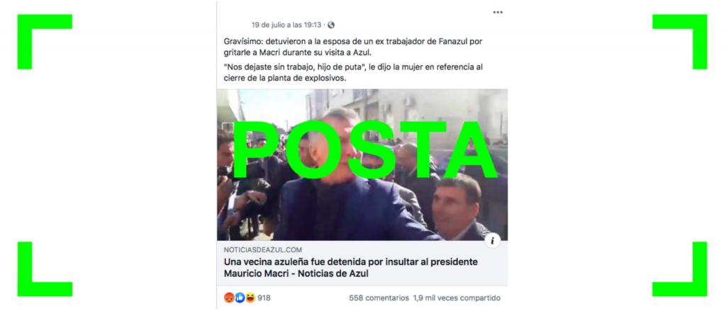 Reverso: Es verdadero que una mujer fue detenida en Azul por insultar a Macri