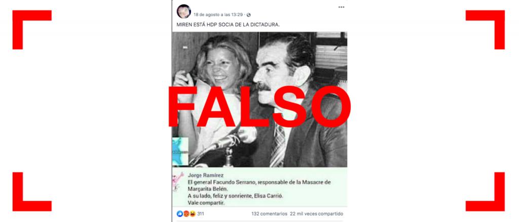 Reverso: Es falsa la foto de Carrió con el ex gobernador de facto de Chaco