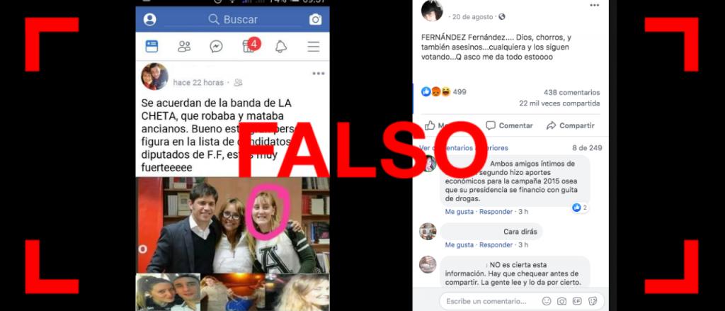 """Reverso: Es falso que """"La Cheta"""", procesada como líder de una banda criminal es candidata del Frente de Todos"""