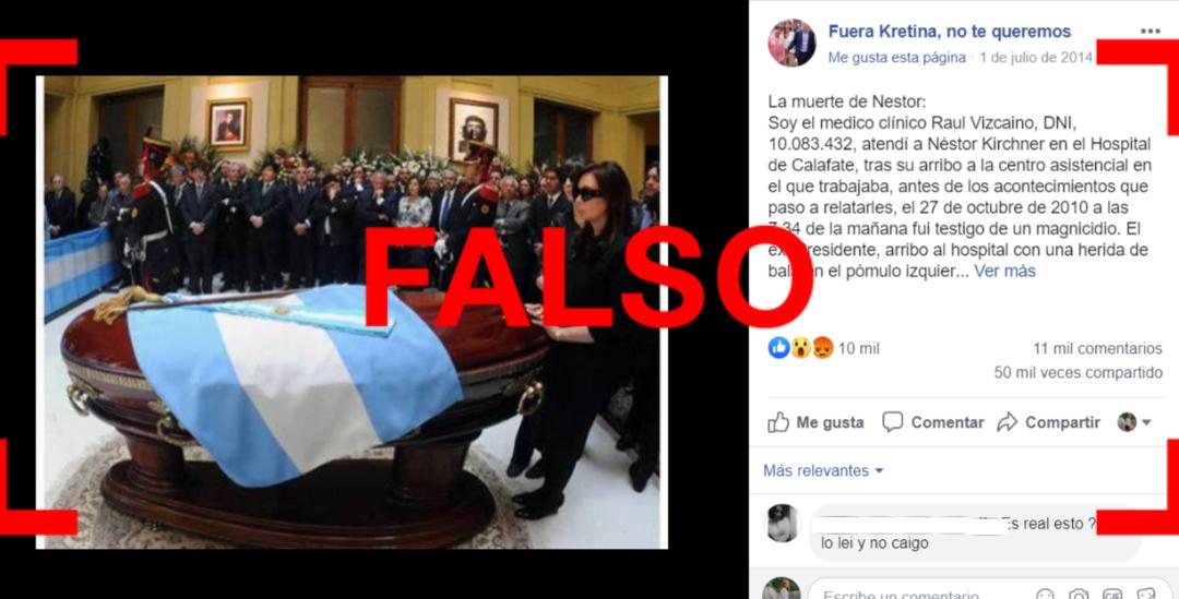 Reverso: Una desinformación que vuelve: es falso que Kirchner murió por un disparo