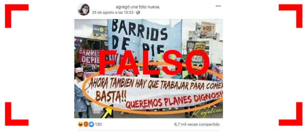 Reverso: Otra vez circula la foto falsa de una pancarta de Barrios de Pie