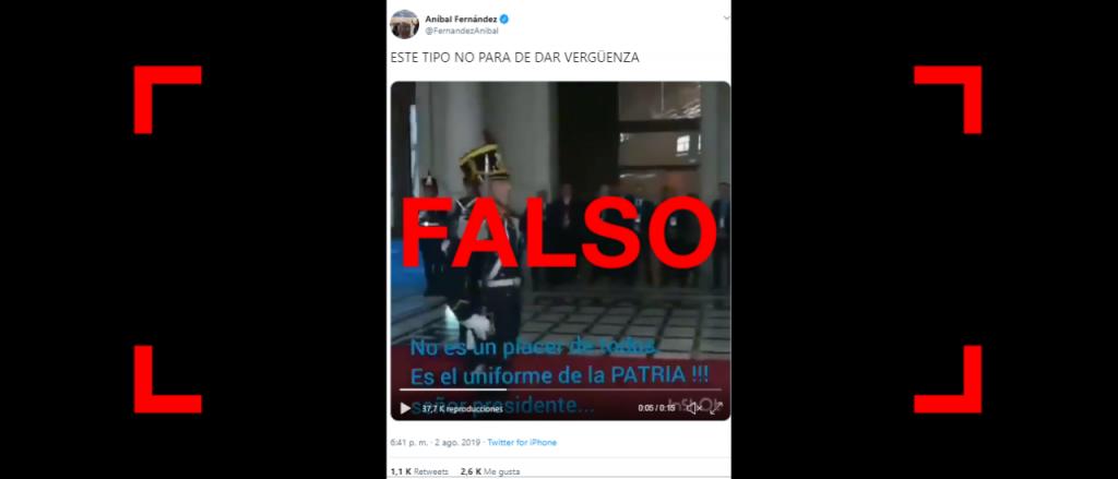 Reverso: Son falsos los subtítulos del video entre Macri y un granadero que publicó Aníbal Fernández