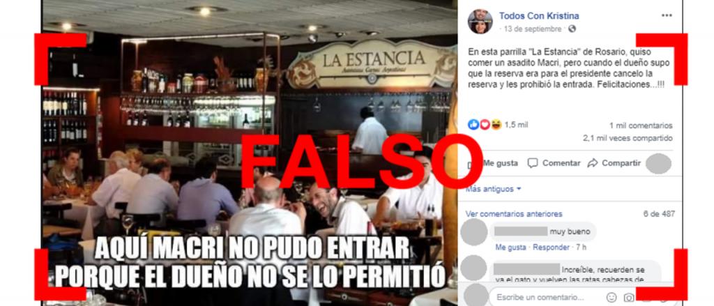 Reverso: Es falso que un restaurante en Rosario no dejó almorzar a Macri