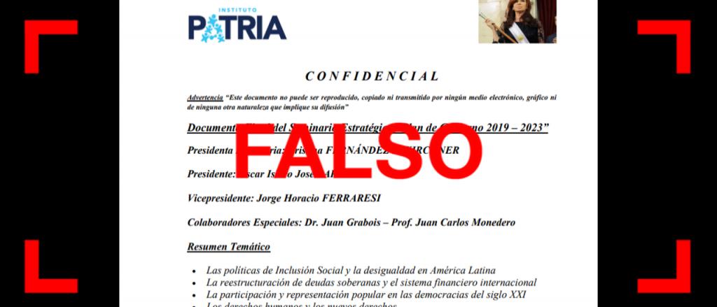 Reverso: Viral en WhatsApp: es falso el supuesto documento confidencial del Instituto Patria
