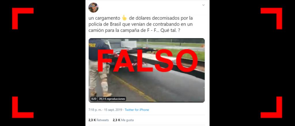 Reverso: Es falso que en Brasil decomisaron un camión con dólares para la campaña de Fernández-Fernández