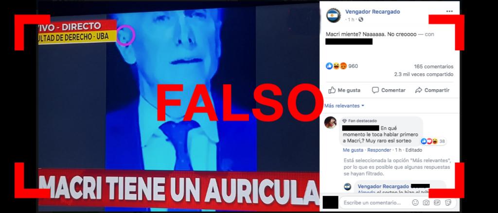Reverso: Es falso que Macri tenía un auricular durante el debate presidencial